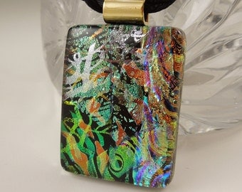 Bohemian Pendant - Dichroic Fused Glass Pendant - Boho - Dichroic Glass - Fused Glass - Dichroic Jewelry - Rainbow Necklace X5330