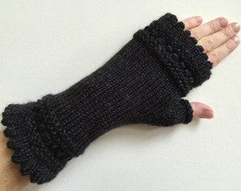 Black Heather French Handwarmers