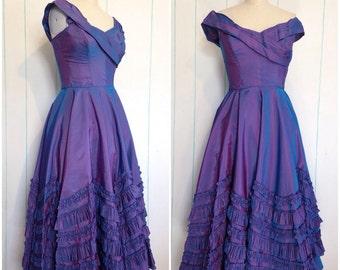 Handmade Ruffled Purple Evening Gown Size 7