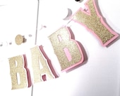 WELCOME BABY Banner - Gold Glitter on Baby Pink - Customize You Choose the Colors - Baby Shower Announcement