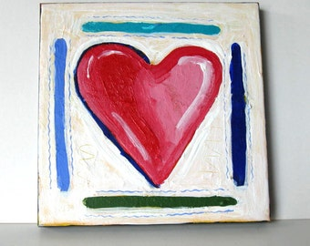 """Original Acrylic Heart painting on canvas, Red and white, 8"""" x 8"""",  heart art canvas, Contemporary Abstract, Wedding, gift idea"""