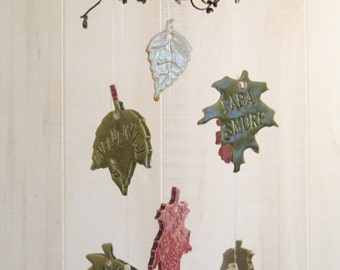 Personalized Autumn Leaves  Memorial  Wind Chime