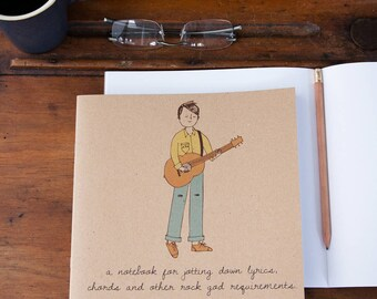 Guitar Boy Notebook -  Eco-friendly gift for adults or children.
