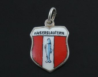 Charm, Sterling Silver, Kaiserslautern, Vintage, Travel Shield, Blue Fish, Red White Enamel Charm