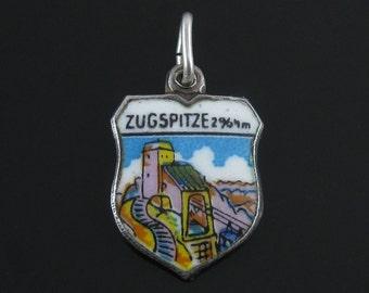 Vintage Reu Zugspetze 800 Silver Enamel Travel Shield Charm