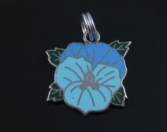 Vintage Blue Enamel Flower Charm