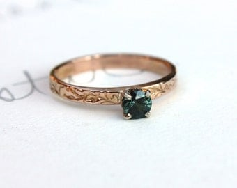 sale green sapphire engagement ring  . simple sapphire engagement ring . fair trade sapphire ring by peacesofindigo . ready to ship size 9.5