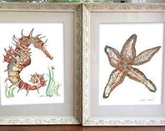 Beach Art Pair // starfish and seahorse// Art Prints// diptych //  13x19, 11x14, or 8.5x11 ea