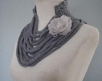 Handmade scarf, crochet scarf, women scarf, grey scarf, accessories scarf, bridal, flower crochet, fashion gift costum, neckwarmer, women