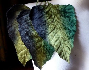 3 Green Brown Ombre Velvet Leaves Very Large in for Headbands, Fascinators, Hats, Crafts Ml 53go