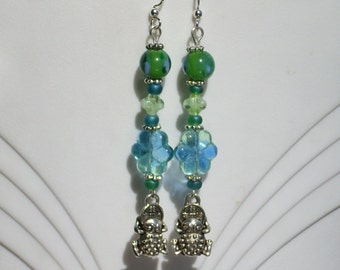 Lucky Wealth Frog with Coin Dangle Earrings