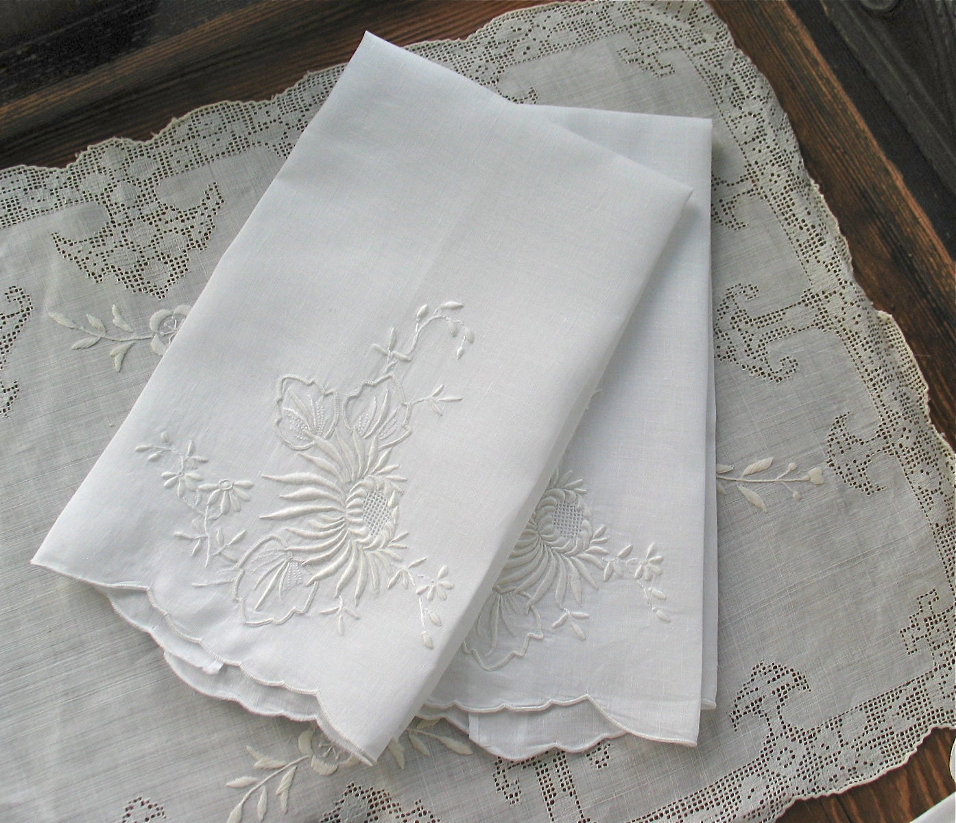 Embroidered Linen Hand Towels In White NOS / By