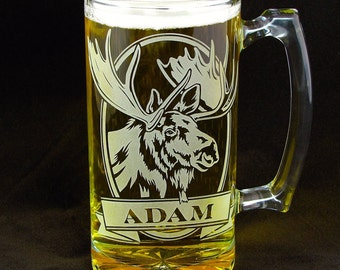 1 Personalized Moose Beer Mug, Gift for Him, Outdoor & Sportsman Gift, Christmas Present for Man