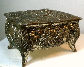 Vintners Tiny Hinged Metal Trinket Box, on Legs, Ornate Grapes n Leaves Motif, 1950s, Japan, Jewelry, Wine Lovers Stash, Red Lined