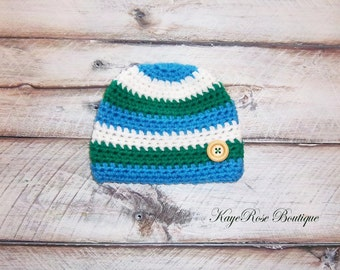 Newborn Baby Boy Striped Crochet Button Hat Blue Green and White Stripes