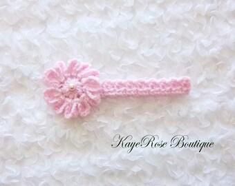 Newborn Baby Girl Crochet Pearl Flower Headband Pink