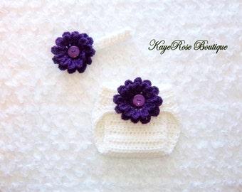 Newborn Baby Girl Crochet Flower Headband and Diaper Cover Set Purple and White