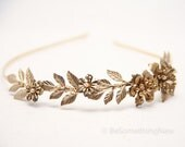 Grecian Brassy Gold Metal Leaf and Flower Headband Gold Wedding Headpiece, Metal Headband for Adults, Metal Hair Accessory of Leaves
