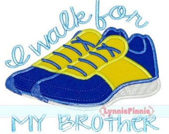 Running Shoes Applique I WALK FOR  4x4 5x7 6x10  Machine Embroidery Design