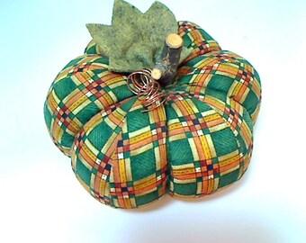 SALE PRICED ||| Size 6 | Green & Gold Fabric Pumpkin | Holidays | Halloween Decor | Autumn | Fall Decor | Centerpiece | Table Decor | #3