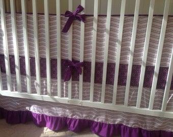Baby Girl Crib Bedding Set Purple Lavender Zig Zag