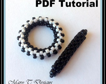 PDF Tutorial for Black and White Beadwoven Toggle Clasp...EBW Team
