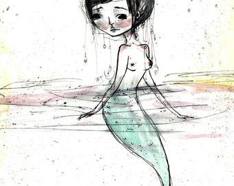 "Fine Art Print - ""Mermaid"" - 8.5x11 or 8x10 or 11x17 or 13x19 Premium Giclee Print of Original Artwork - Jessica von Braun - Little Mermaid"