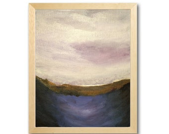 """Abstract Landscape Seascape Original Acrylic Painting   Framed or Unframed 8"""" x 10"""""""
