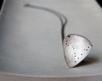Guitar Pick Necklace- Custom Constellation Silver Guitar Pick