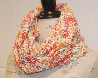 Vintage Style Floral Infinity Scarf - Multicolored Flowers Cotton Textured Voile Fabric - Modern Fashion Accessory - Ladies Teens Tweens