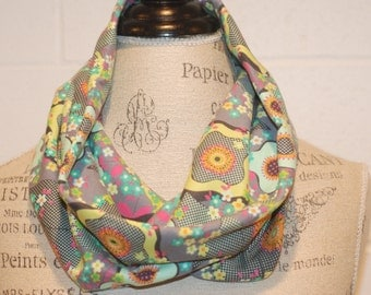 Grey Seafoam Multicolored Floral Infinity Scarf Neckwarmer Snood - Cotton Jersey Fabric - Fall Winter Fashion Accessory - Ladies Teens