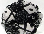 Fabric Flower Pin, Fabric Flower Brooch, raw edge flower, black, white - FP18