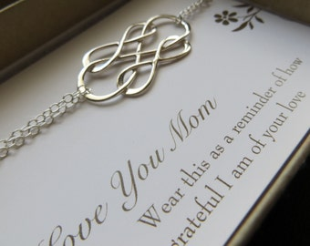 mother of the bride gift, triple infinity bracelet, sterling silver interlocked infinity charm, gift for mom, card, wedding day