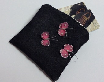 Coin purse, black with pink butterfly
