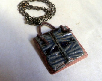 handmade CERAMIC pendant Necklace, OOAK, oxidized brass chain