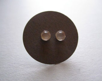Small Moonstone Studs - sterling silver posts
