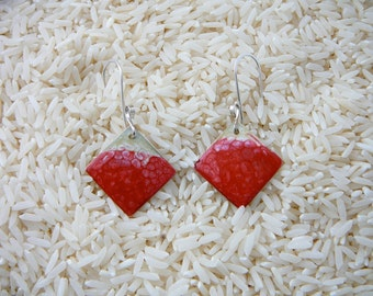 Red and White Hand Painted Pebeo Earrings on Sterling Ear Wires