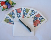 Japanese paper - six blank notecards -all one pattern- red and green peony on blue scroll katazome - Ready to ship