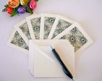 Italian paper -  six blank note cards - all one pattern-  Italian peacock- Ready to ship