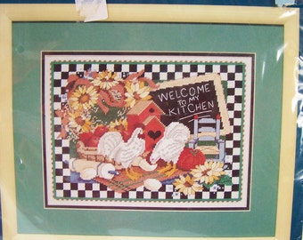 Vintage Sunset Needlepoint Kit, Hard to Find Welcome to My Kitchen, Hens and Sunflowers Needlepoint Stitchery, Kitchen Decor, Craft Destash