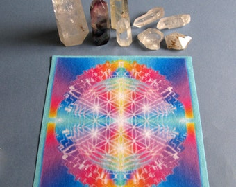Liquid Life Ascending Masters Healing Mandala Cloth      Crystal Grid
