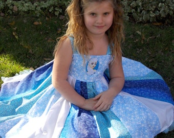 Custom Boutique Twirl Dress Designed with Disney Elsa patch 2T-6X