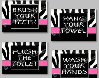Pink Zebra Print Wall Art Decor Bathroom Rules Wash Brush Flush Hang Kid Children Adults UNFRAMED Photo Picture Prints Girls Teen Dorm Home