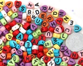 Letter Beads - 7mm Little Heart Shaped Alphabet Acrylic or Resin Beads - 300 pc set