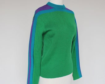 80's Crew Neck Ski Sweater / Green, Purple, Blue / Womens / Small