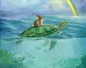 Isabella and the Turtle ,Watercolor Paper Print, Giclee, Isabella