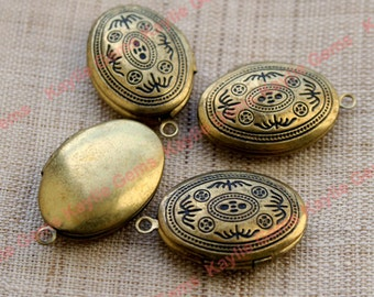 Brass Locket Oval Victorian Style Antique Detailed -LKOS-93AB -8pcs