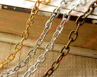 Chain Strong Textured Flat Oval 3.5x5mm Link Cable, Gold, Silver, Antique Brass, Antique Silver - 6ft