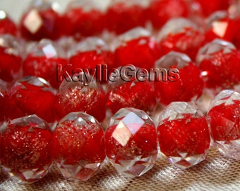Lampwork Glass Bead Faceted Abacus Rondelle Gold Sand -Red 14x10mm, 12x9mm, 10x8mm