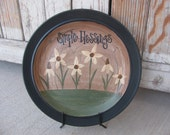 Primitive Country Cottage Chic Wild Flower Daisies Hand Painted Plate GCC2219